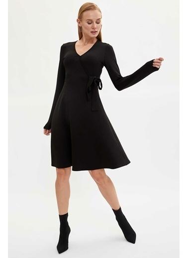 DeFacto Kruvaze Yaka Slim Fit Elbise Siyah